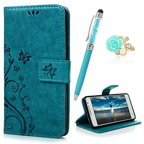 YOKIRIN Grand Prime G5308 G530 Wallet Case Schmetterling Flip Hülle Schutzhülle Zubehör PU Leder Handytasche Bookstyle Stand Kartenfächer Magnet Case für Samsung Galaxy Grand Prime G5308 G530 Blau