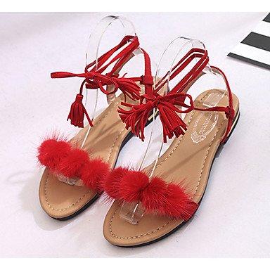LvYuan Sandalen-Lässig Kleid-PU-Niedriger Absatz-Komfort-Schwarz Rot Weiß Red