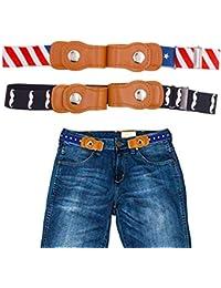 SWZY Buckle-free Elastic Kids Belt,No Buckle Elastic Belts for Kids Children Boys Girls Buckle Free Adjustable Invisible Elastic Waist Belt,2 pieces