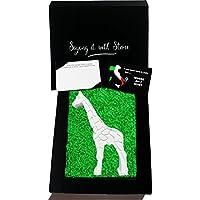 Giraffa fatta a mano in Pietra Leccese - Simboleggia Bellezza e Eleganza - Inclusa confezione e bigliettino vuoto in Inglese ♥ Idee regali di compleanno anniversario di matrimonio per moglie mamma fidanzata ♥