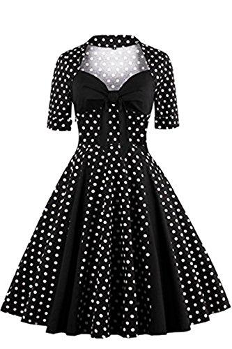 Tailloday Damen Vintage 1950er Jahre Polka Dots Swing Rockabilly Cocktailkleid