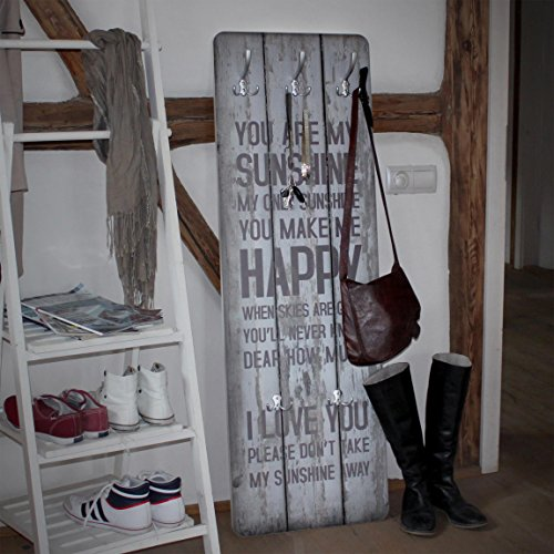 Wandgarderobe No.RS182 Sunshine Design Garderobe Garderobenpaneel Kleiderhaken Flurgarderobe Hakenleiste Holz Standgarderobe Hängegarderobe