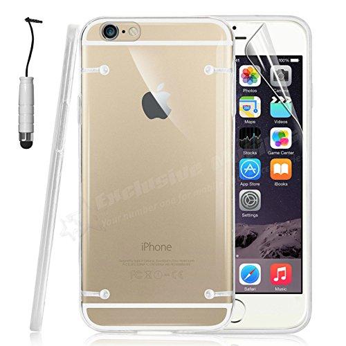 MOBILECONNECT4U ® retro trasparente bumper custodia per iPhone 6Plus (14cm) con pellicola protettiva e pennino Pink White