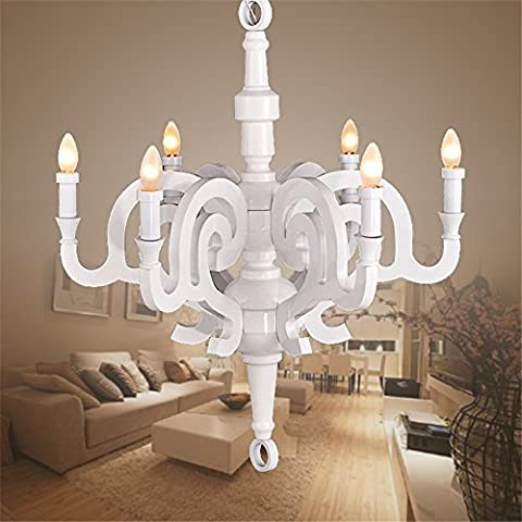 Modern Chandelier Ceiling Light Art candle light wood Roman creative chandeliers continental restaurant bedroom living room light, white, 5 heads, 50cm