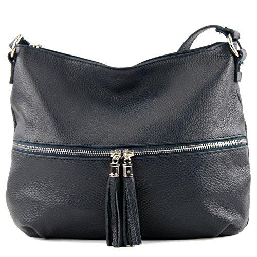 modamoda de - ital. Ledertasche Damentasche Umhängetasche Tasche Schultertasche Leder T159 Dunkelblau