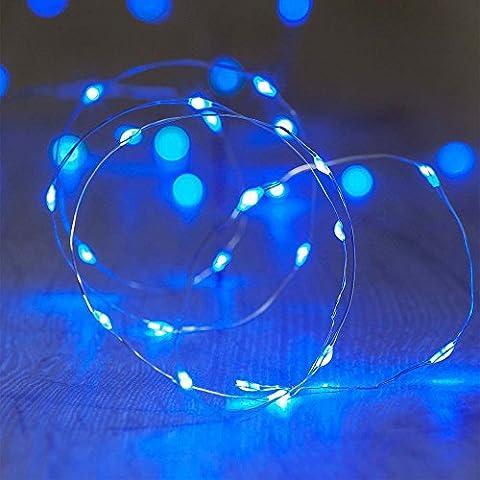 ShareMoon 1 Stück 20er LED-Lichterkette warm-weiß Innen Micro Draht Batterie-betrieben 6.5 Ft/2M, für innen/außen,Mit Batterie[Energieklasse A] (Light Set Weiß Draht)