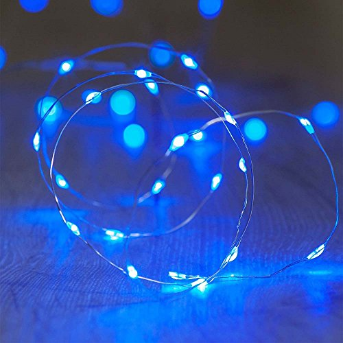 ichterkette Micro Draht Batterie-betrieben 6.5 Ft/2M, für innen/außen,Mit Batterie (Blau) [Energieklasse A+] (Halloween Fenster, Leuchten, Dekorationen)