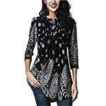 FIYOTE Womens Casual 3/4 Sleeve Floral Print Loose Tunic Long Blouse and Tops Black L