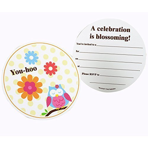 Owl Blossom Invitations (8) Party Supplies by CelebrateExpress (Owl Supplies Party)