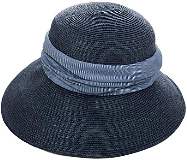 Cappello ZHIRONG Summer Estivo da da Estivo Donna Spiaggia Spiaggia  Spiaggia Beige Blu può Essere Piegato 27f18c792099