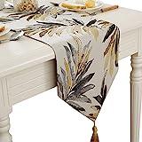 HUABEI Runner tavola in Jacquard con Foglia Elegante per Home, caffè Decorativo (32 * 160cm)