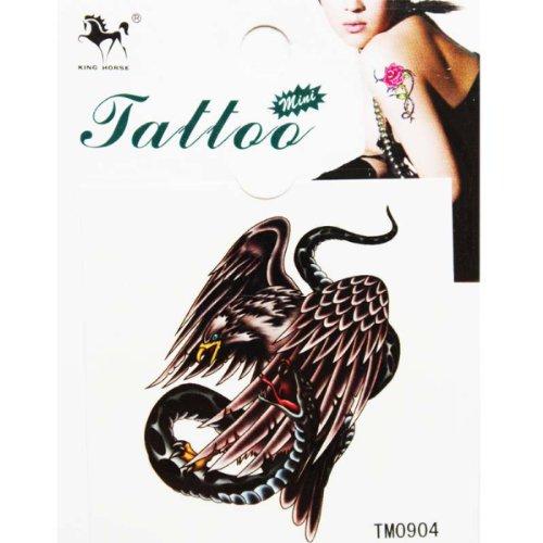 King Horse autocollant de tatouage temporaire pour les hommes et les femmes sexy de la mode aigle accroché à un serpent