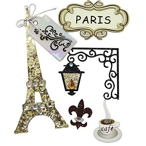 Rayher Hobby 58442000  Deko-Sticker Paris mit Klebepunkt, SB-Beutel 5 Stück (Paris Aufkleber)