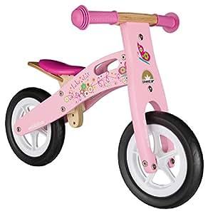 Bikestar Bicicletta senza pedali in legno 2-3 anni per bambino et bambina ★ Bici senza pedali bambini 10 pollici ★ Rosa