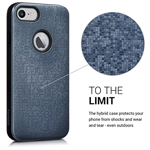 kwmobile Étui hybride Design Hybride brossé pour Apple iPhone 7 / 8 en argenté modèle hybride bleu-gris noir