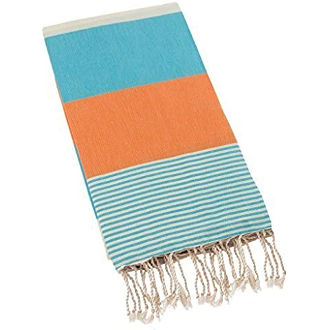 Swan Comfort 100% Organic Turkish Cotton Absorbent Beach Towel, Easy Care ideal for Bath Spa Fitness Yoga Pool Yatch Swimwear Guest Gym - Blue - Orange by