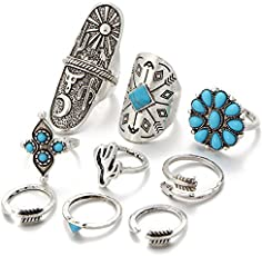 Shining Diva Fashion Silver Bohemian Set of 9 Midi Finger Rings for Girls and Women