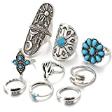 #7: Shining Diva Fashion Antique Bohemian Set of 9 Midi Finger Rings for Girls