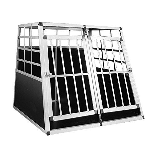 HENGMEI Alu Hundebox Hundetransportbox Reisebox Transportbox Gitterbox mit 2-Türig für Haustier (XXL, 2 Türig) -