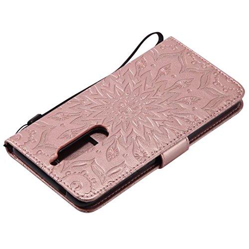 LEMORRY Nokia 5 Custodia Pelle Cuoio Flip Portafoglio Borsa Sottile Bumper Protettivo Magnetico Morbido Silicone TPU Cover Custodia per Nokia 5, Fiorire (Marrone) Oro rosa