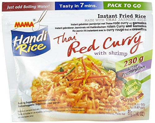 Mama Gebratener Instant Jasminreis mit thailändischem rotem Curry und Garnelen, 10er Pack (10 x 80 g)