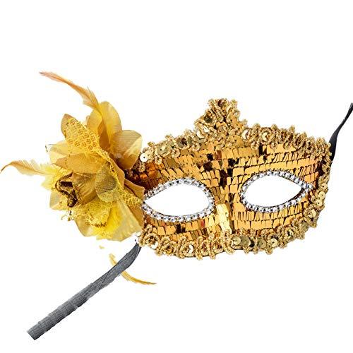Angoter Frauen-Augen-Kostüm Masquerade Mardi Maske Blumen-Spitze Pailletten Strass Dekoration - Flirt Spitzen Kostüm
