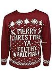 Maglione natalizio, unisex, lavorato a maglia, stile retro, con scritta: 'Merry Christmas Ya Filthy Animal' [in lingua inglese], colore: bordeaux Burgundy S/M