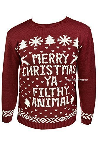 Neu Herren Damen Weihnachten Pullover Neuheit Pullover Gestrickt Retro Pullover Burgund
