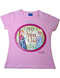 Disney Frozen T-Shirt 3 to 10 Years Anna and Elsa T-shirt Pink Circle