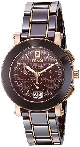 Fendi Women's 38mm Brown Ceramic Band Gold Tone Steel Case Swiss Quartz Chronograph Watch F674120