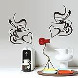 Cafés Tasses Mugs Cœur Formes en PVC Sticker mural Sticker Home murales en vinyle Papier peint papier Décoration Maison Salon Chambre Cuisine Art Photo DIY pour enfants Teen Senior Nursery bébé Adulte