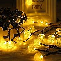 Guaiboshi LED Cadena Luz Solar 6.5M 30LED luz de Bola de Cristal Luces decorativas para Árbol de Navidad, Jardín, Patio, Bodas, Terraza, Fiestas - Blanco Cálido (Bubble light)