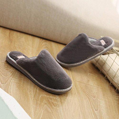 Peluche Chaud Pantoufles Hommes, QinMM Cofortable Hiver Intérieur Solide Antidérapant Doux Chaussures Gris