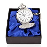 Personalised Engraved Silver Pocket Watch in Satin lined gift box