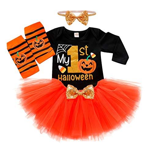 Alaso Déguisement Halloween Bébé Fille 4PCS Ensembles Barboteuse pour Nouveau-né de 1er...