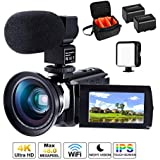 4K Camcorder Ultra HD Video Camera CofunKool 16X Digital Zoom WIFI IR Night Vision Camcorder 3.0 Inches IPS Touch Screen Vlogging Camera for YouTube with Microphone Wide Angle Lens