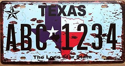Vintage TEXAS USA bar pub cafe poster retro tin sign plaque metal fer peinture décoration murale plaque d'immatriculation 15x30cm