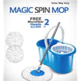 ALLWIN's Home Cleaning 360° Spin Floor Cleaning Easy Advance Tech Bucket PVC Mop & Rotating Steel Pole Head with 2 Microfiber Refill Head (Random Colour)