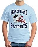 OM3 - NEW ENGLAND FOOTBALL - T-Shirt Patriots American Football Tee 2017 Super Bowl 51 LI Houston Texas USA, XXL, Hellblau