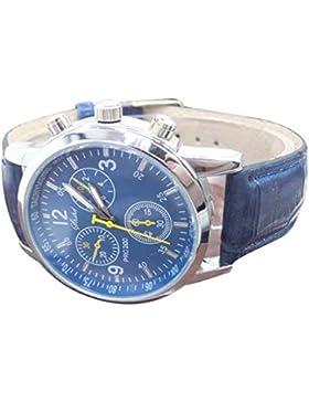Uhren - SODIAL(R)Uhren, Herren Armbanduhr Neue Luxusmode-Krokodil-Leder-Herren-Analog-Uhr-Uhren Blau