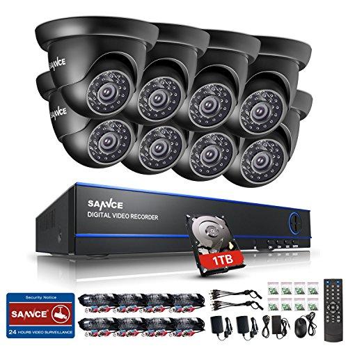 SANNCE-Kit-de-seguridad-8-cmaras-de-vigilanciaH264-Onvif-P2P-16CH-DVR-y-8-cmaras-720P-IR-CUT-IP66-Impermeable-1TB-Disco-duro-de-vigilancia