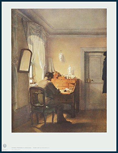 Bild mit Rahmen Georg Friedrich Kersting - Herr am Schreibtisch - Holz blau, 38.9 x 50.5cm -...