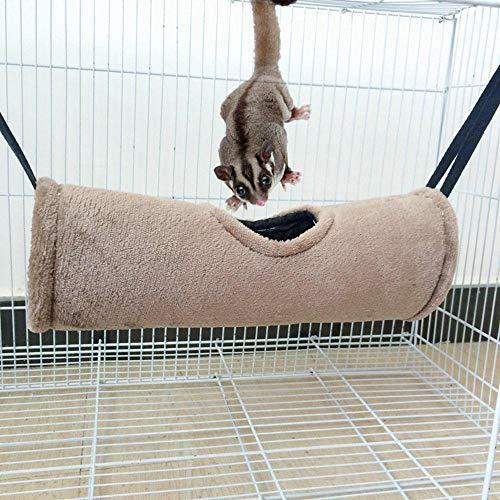 KOBWA Hamster-Hängematte, Warmer Tunnel, Baumwolle, zum Aufhängen, Spielzeug zum Schlüpfen, Höhle für kleine Haustiere, Hamster, Ratten, Frettchen, Eichhörnchen, Chinchilla, Meerschweinchen -