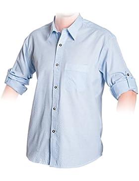 Trachten Hemd Hellblau, kariertes Trachtenhemd Größe S bis 3XL