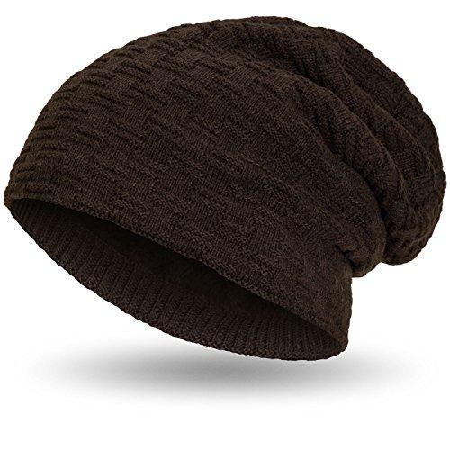Compagno warm gefütterte Beanie Wintermütze sportlich-elegantes Flechtmuster mit weichem Fleece-Futter Mütze, Farbe:Braun