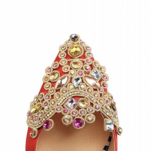 Mee Shoes Damen high heels Geschlossen Strass Pumps Rot(Absatzhöhe 2.5 cm)
