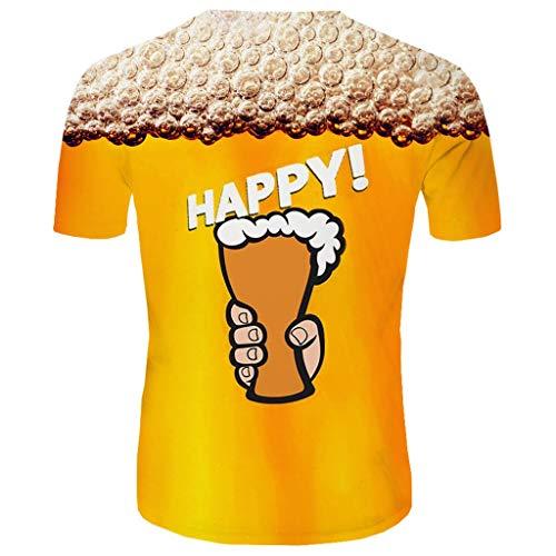 ODRD Herren T Shirts, Oversize Tops Herren New Summer Beer Festival T-Shirt mit Rundhalsausschnitt Kurzarm Blue Flame 3D gedruckt Top Shortsleeve Basic Shirt -