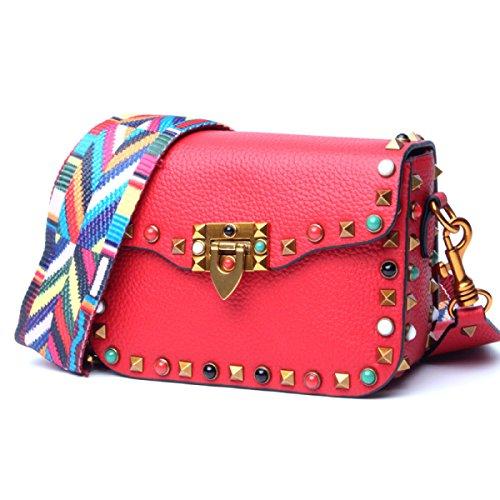 Le Donne Cuoio Genuino Tracolla Larga Mini Singola Spalla Crossbody Bag Red