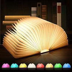 SKEY Große LED Buch lampe, 8 Farbmodi Buchlampe, Hölzerne faltende Buch-Lampe, USB wiederaufladbar Tischleuchte, Nachttischlampe, dekorative Lampen, 360°Faltbar
