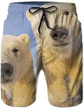 Funny Caps Cute Polar Bear Men's/Boys Casual Swim Trunks Short Elastic Waist Beach Pants with Pockets